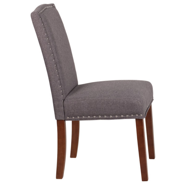 Lowest Price HERCULES Hampton Hill Series Gray Fabric Parsons Chair with Silver Accent Nail Trim