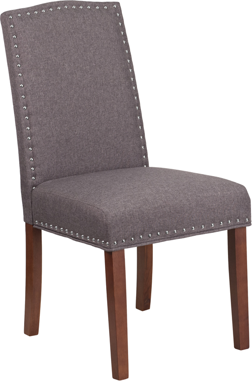 Wholesale HERCULES Hampton Hill Series Gray Fabric Parsons Chair with Silver Accent Nail Trim