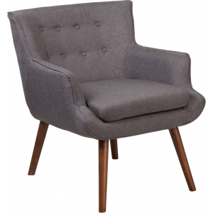 Wholesale HERCULES Hayes Series Gray Fabric Tufted Arm Chair