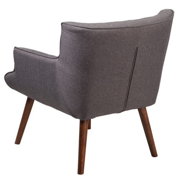 Mid-Century Style Gray Fabric Arm Chair