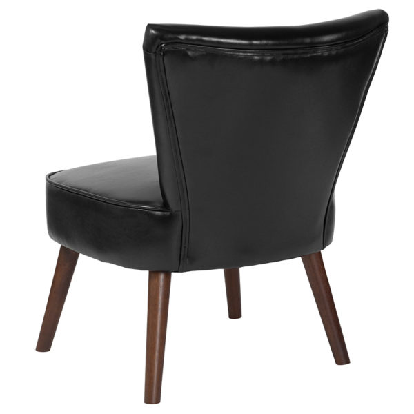Accent Side Chair Black Leather Retro Chair