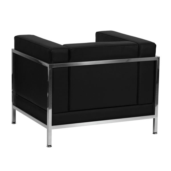 Lowest Price HERCULES Imagination Series Contemporary Black Leather Chair with Encasing Frame