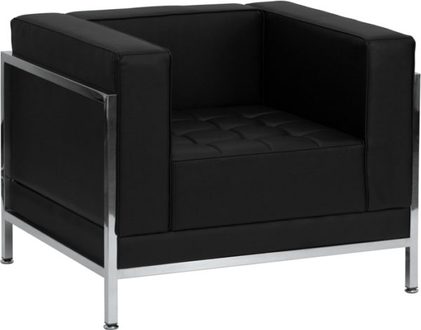 Wholesale HERCULES Imagination Series Contemporary Black Leather Chair with Encasing Frame