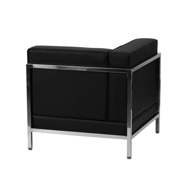Lowest Price HERCULES Imagination Series Contemporary Black Leather Left Corner Chair with Encasing Frame