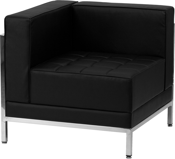 Wholesale HERCULES Imagination Series Contemporary Black Leather Left Corner Chair with Encasing Frame