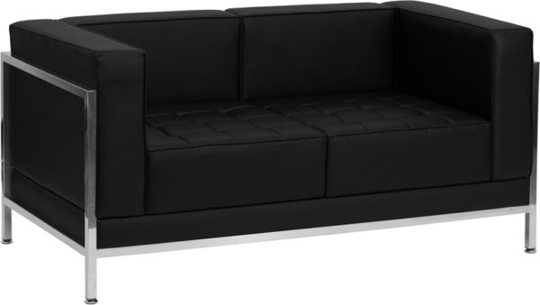 Wholesale HERCULES Imagination Series Contemporary Black Leather Loveseat with Encasing Frame