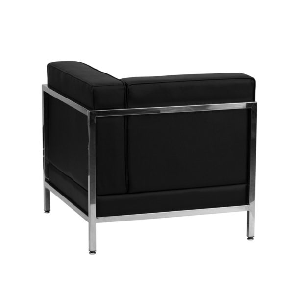 Lowest Price HERCULES Imagination Series Contemporary Black Leather Right Corner Chair with Encasing Frame