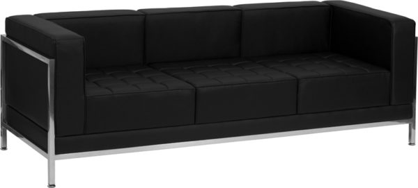 Wholesale HERCULES Imagination Series Contemporary Black Leather Sofa with Encasing Frame