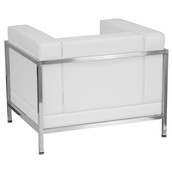 Lowest Price HERCULES Imagination Series Contemporary Melrose White Leather Chair with Encasing Frame