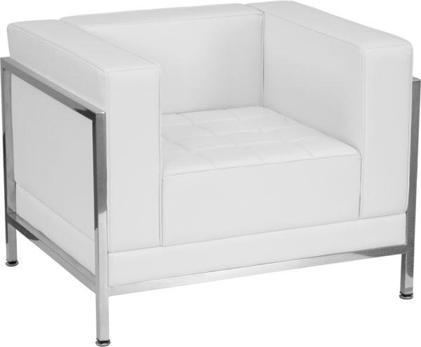 Wholesale HERCULES Imagination Series Contemporary Melrose White Leather Chair with Encasing Frame