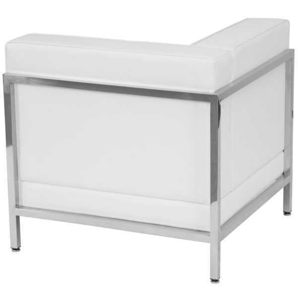 Lowest Price HERCULES Imagination Series Contemporary Melrose White Leather Left Corner Chair with Encasing Frame