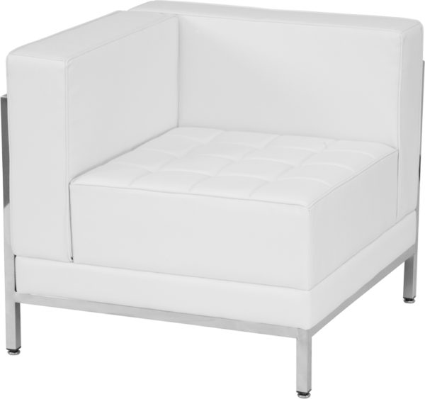 Wholesale HERCULES Imagination Series Contemporary Melrose White Leather Left Corner Chair with Encasing Frame