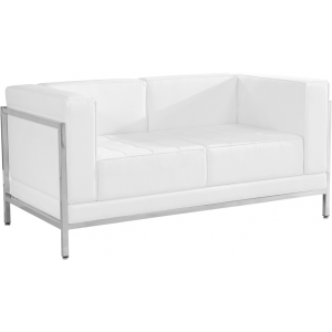 Wholesale HERCULES Imagination Series Contemporary Melrose White Leather Loveseat with Encasing Frame