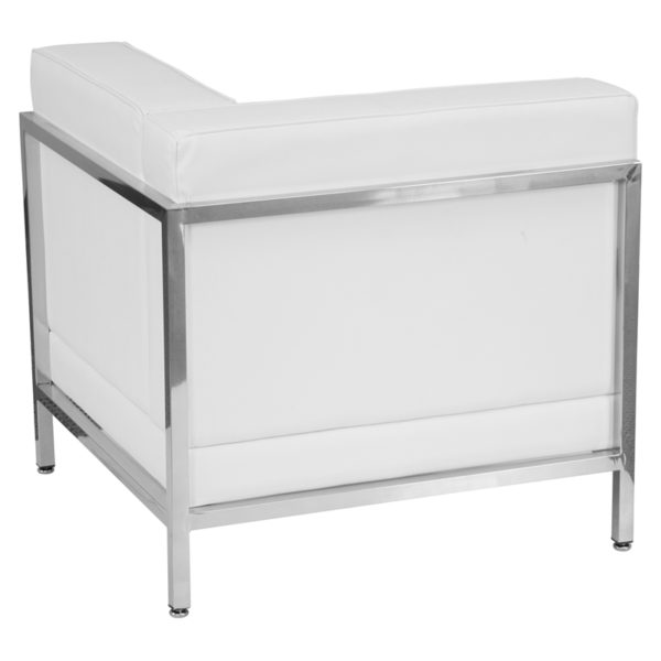 Lowest Price HERCULES Imagination Series Contemporary Melrose White Leather Right Corner Chair with Encasing Frame
