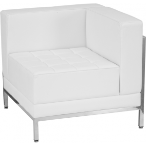 Wholesale HERCULES Imagination Series Contemporary Melrose White Leather Right Corner Chair with Encasing Frame