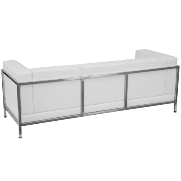 Lowest Price HERCULES Imagination Series Contemporary Melrose White Leather Sofa with Encasing Frame