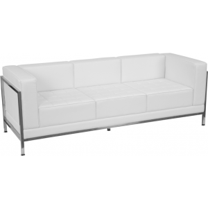 Wholesale HERCULES Imagination Series Contemporary Melrose White Leather Sofa with Encasing Frame