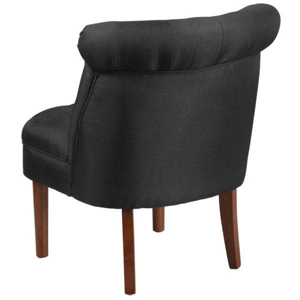 Accent Side Chair Black Fabric Tufted Chair
