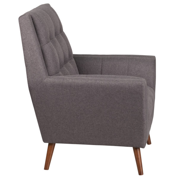 Lowest Price HERCULES Kensington Series Contemporary Gray Fabric Tufted Arm Chair
