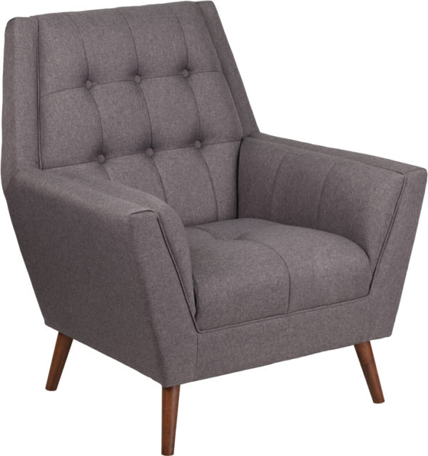 Wholesale HERCULES Kensington Series Contemporary Gray Fabric Tufted Arm Chair