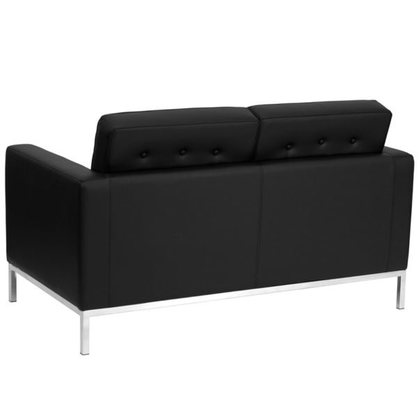 Lowest Price HERCULES Lacey Series Contemporary Black Leather Loveseat with Stainless Steel Frame