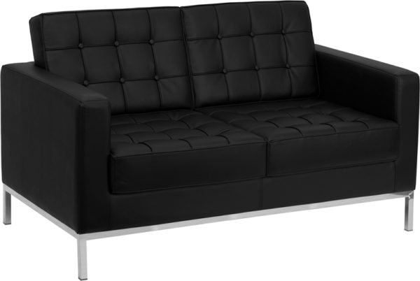 Wholesale HERCULES Lacey Series Contemporary Black Leather Loveseat with Stainless Steel Frame