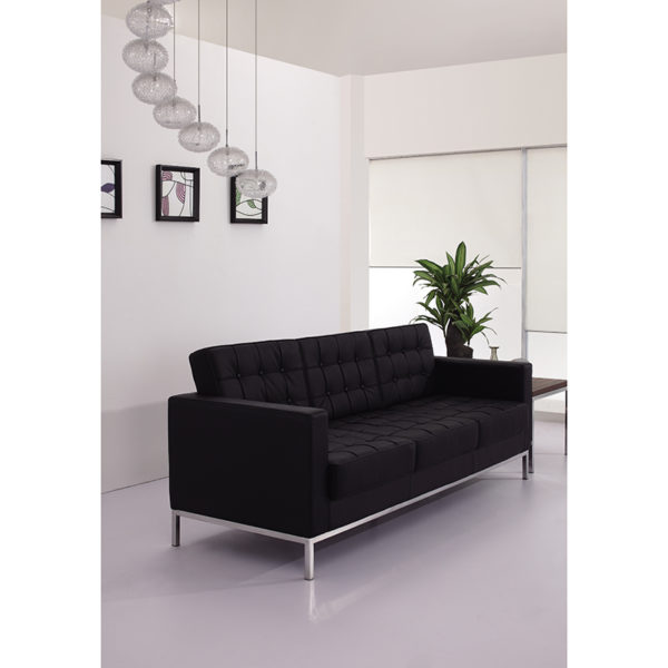 Lowest Price HERCULES Lacey Series Contemporary Black Leather Sofa with Stainless Steel Frame