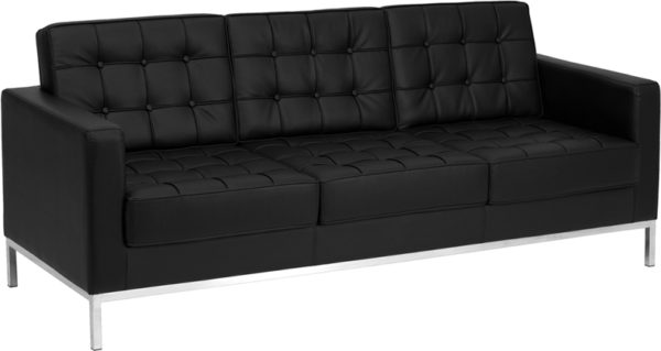 Wholesale HERCULES Lacey Series Contemporary Black Leather Sofa with Stainless Steel Frame