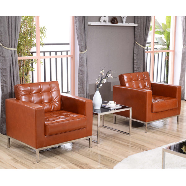 Lowest Price HERCULES Lacey Series Contemporary Cognac Leather Chair with Stainless Steel Frame