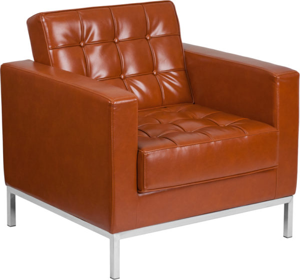 Wholesale HERCULES Lacey Series Contemporary Cognac Leather Chair with Stainless Steel Frame