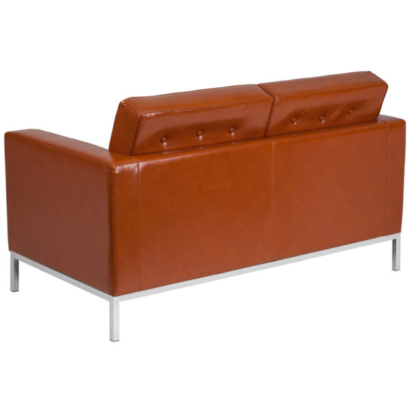 Lowest Price HERCULES Lacey Series Contemporary Cognac Leather Loveseat with Stainless Steel Frame