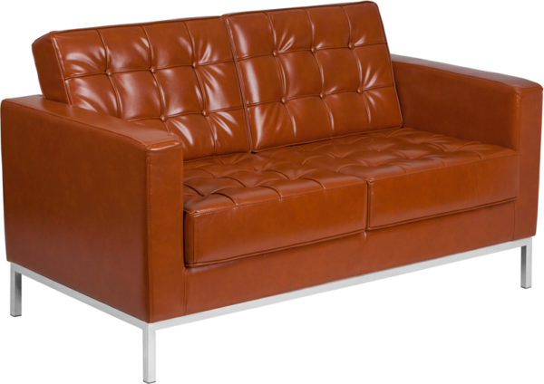 Wholesale HERCULES Lacey Series Contemporary Cognac Leather Loveseat with Stainless Steel Frame