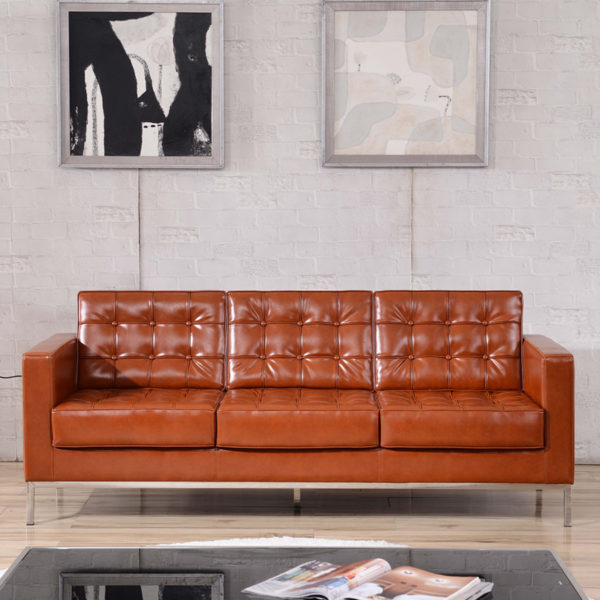 Lowest Price HERCULES Lacey Series Contemporary Cognac Leather Sofa with Stainless Steel Frame