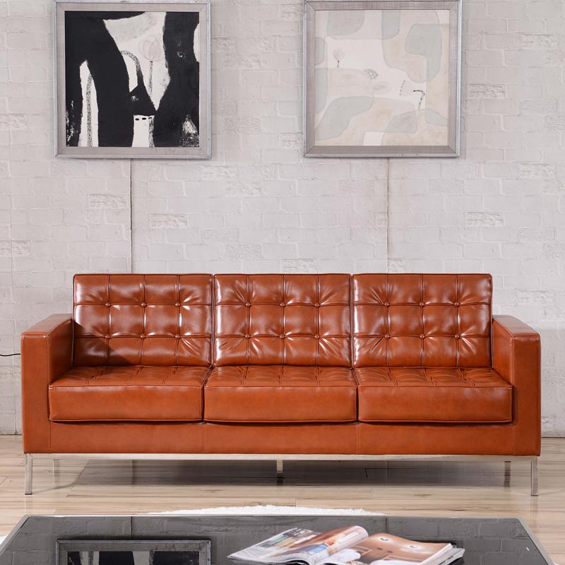 Series Contemporary Cognac Leather Sofa