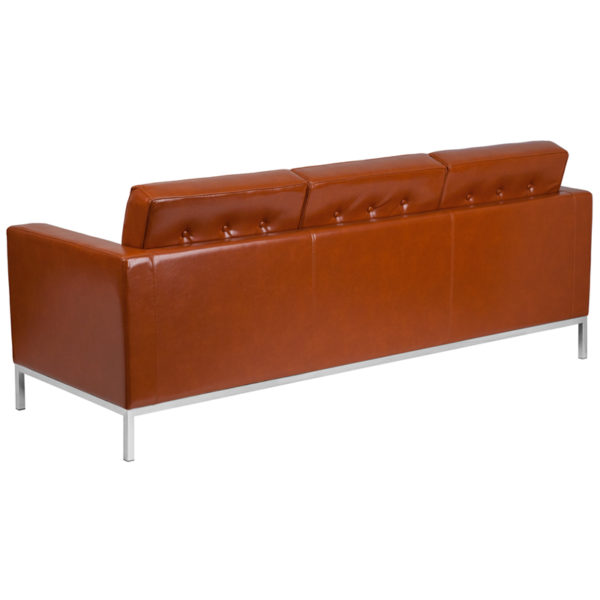 Contemporary Style Cognac Leather Sofa