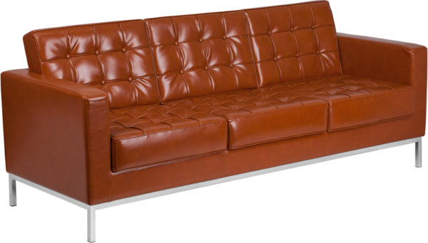 Wholesale HERCULES Lacey Series Contemporary Cognac Leather Sofa with Stainless Steel Frame