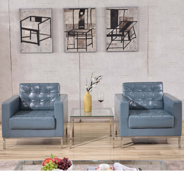 Lowest Price HERCULES Lacey Series Contemporary Gray Leather Chair with Stainless Steel Frame