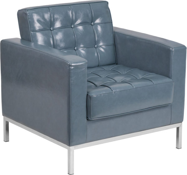 Wholesale HERCULES Lacey Series Contemporary Gray Leather Chair with Stainless Steel Frame