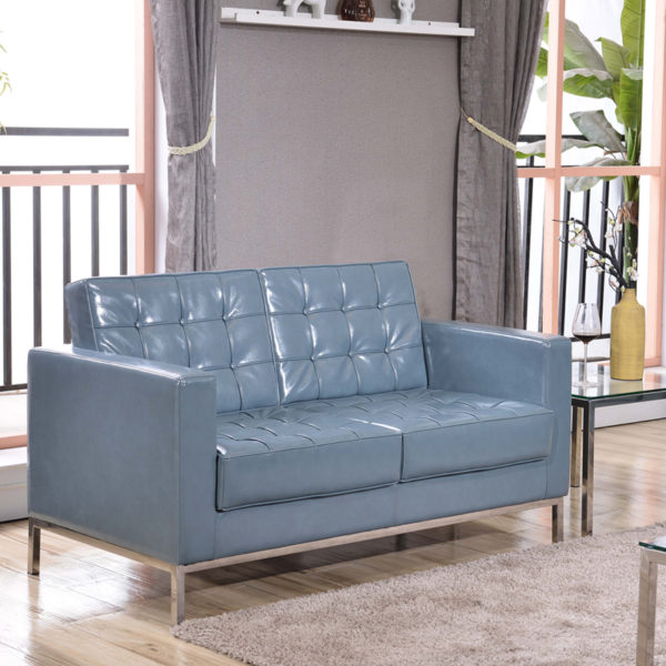 Lowest Price HERCULES Lacey Series Contemporary Gray Leather Loveseat with Stainless Steel Frame