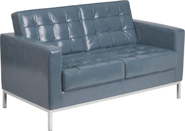 Wholesale HERCULES Lacey Series Contemporary Gray Leather Loveseat with Stainless Steel Frame