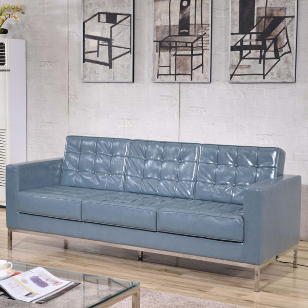 Lowest Price HERCULES Lacey Series Contemporary Gray Leather Sofa with Stainless Steel Frame