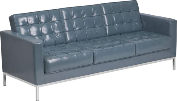 Wholesale HERCULES Lacey Series Contemporary Gray Leather Sofa with Stainless Steel Frame