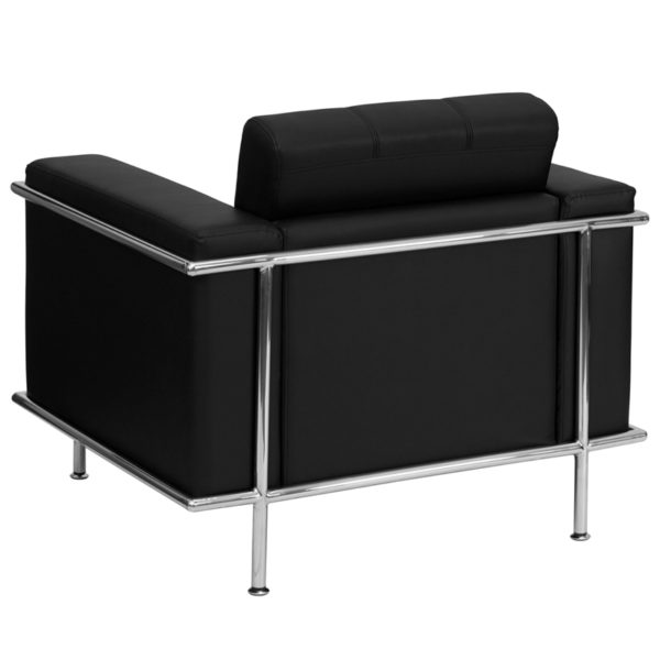 Lowest Price HERCULES Lesley Series Contemporary Black Leather Chair with Encasing Frame
