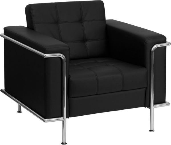 Wholesale HERCULES Lesley Series Contemporary Black Leather Chair with Encasing Frame