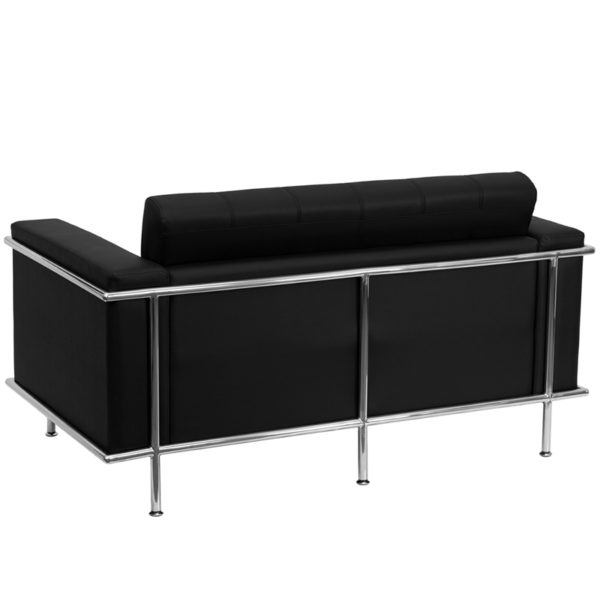 Lowest Price HERCULES Lesley Series Contemporary Black Leather Loveseat with Encasing Frame