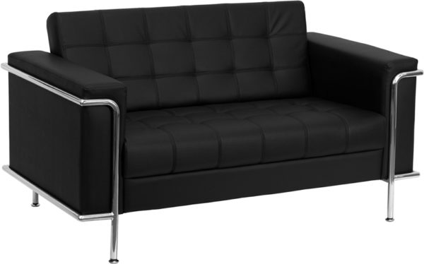 Wholesale HERCULES Lesley Series Contemporary Black Leather Loveseat with Encasing Frame