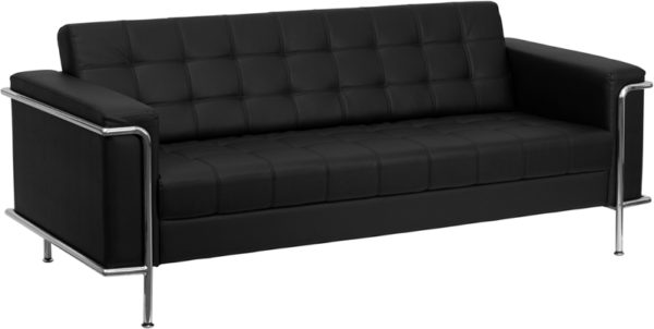 Wholesale HERCULES Lesley Series Contemporary Black Leather Sofa with Encasing Frame
