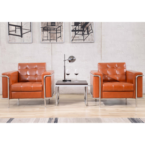 Lowest Price HERCULES Lesley Series Contemporary Cognac Leather Chair with Encasing Frame