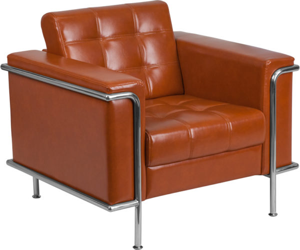 Wholesale HERCULES Lesley Series Contemporary Cognac Leather Chair with Encasing Frame