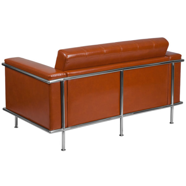 Lowest Price HERCULES Lesley Series Contemporary Cognac Leather Loveseat with Encasing Frame